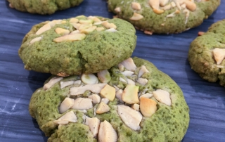 Matcha white chocolate cashew cookies