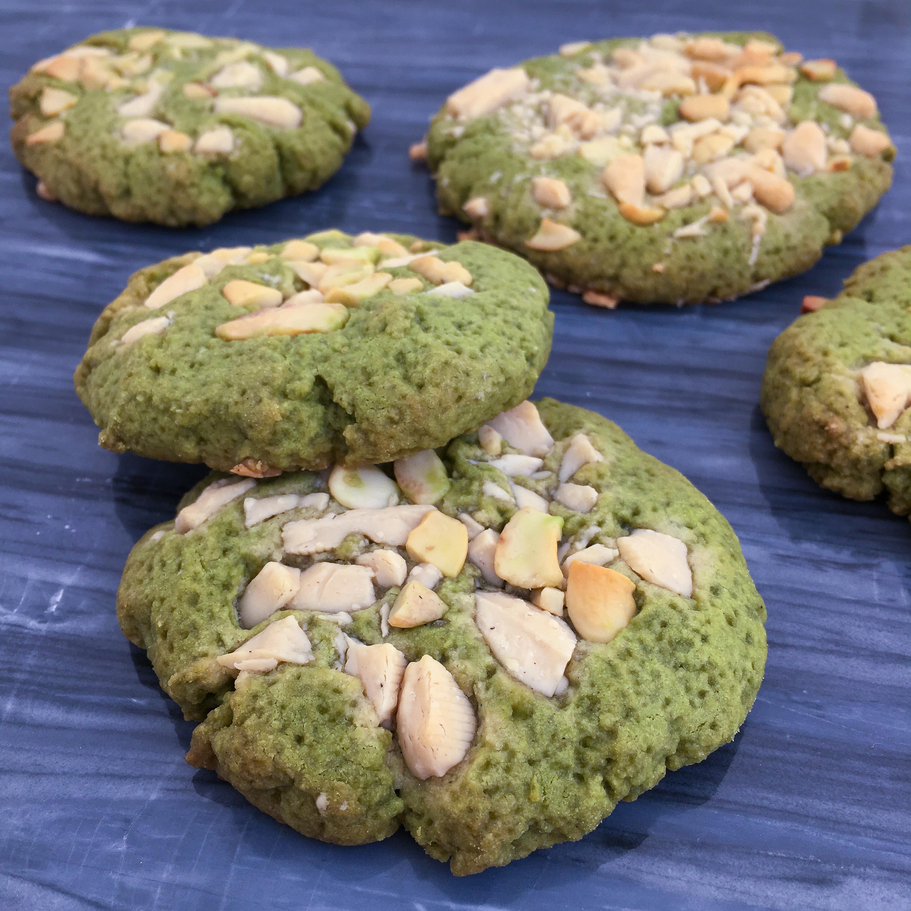 Matcha white chocolate cashew cookies